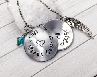 Angel Baby Necklace - Love Lives On Necklace - Infant Loss Necklace - Memorial Necklace - Remembrance Necklace - Hand Stamped Necklace