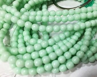 50 Opaque Light Mint Green Czech Pressed Glass Round Druk Beads 4mm