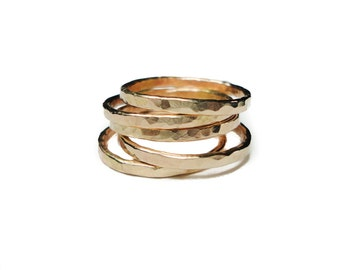 14k YELLOW gold wedding ring | hand pounded | stackable | ONE ring | medium thickness