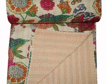 Indian Kantha Throw Handmade Kantha Double Bed Cover, Kantha Quilt Bed Cover Queen Blanket