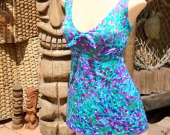 Vintage 1970s 70s Swimsuit Skirted Style Blue Turquoise Purple Bow Swim Dress Swimwear Bathing Suit Medium Large