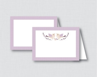 Printable Bird Food Tent Labels Cards or Place Cards - Instant Download - Purple Birdie Baby Shower Food Tent Cards - 0037-R