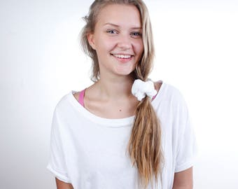 Beauty Routine White Bamboo Terry Cloth Scrunchie