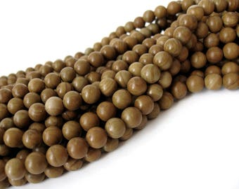Natural Wood Lace Stone Beads Brown Round 8mm  (PP301B)