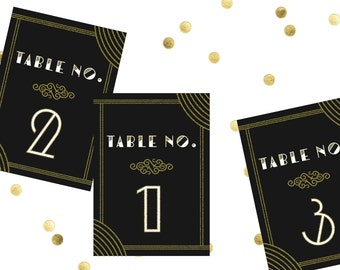 Art Deco Wedding Table Number // Printed 5x7 Table Number // Art Deco Wedding, Gatsby Wedding Decor, Old Hollywood Glamour Decor