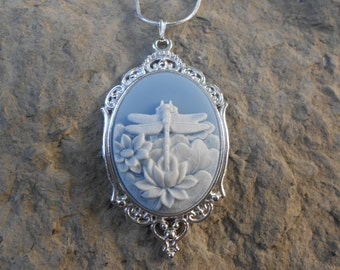 """Stunning White Dragonfly (on a sky blue background) Cameo Pendant Necklace---.925 plated 22"""" Chain--- Great Quality"""