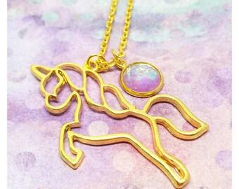 Unicorn Necklace For Little Girl, Unicorn Necklace Gold, Unicorn Gift, Unicorn Jewelry, Pink Unicorn Childrens Necklace, Unicorn Charm