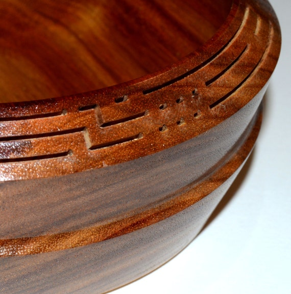"Canarywood Bowl – ""Message"" – Unique Carving Details"