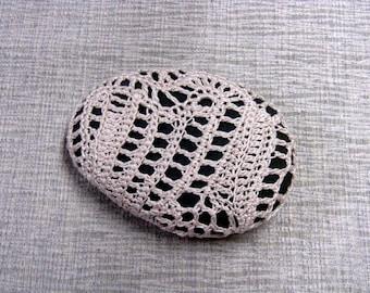Freeform Crochet Sea Stone Paperweight crocheted lace fiber art