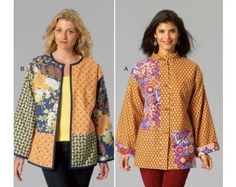 Sewing Pattern for Misses Colorblock Jackets, Kwik Sew Pattern 4086, Womens Sew Pattern, Kimono Jacket, Button Front Jacket w/ Kimono Sleeve