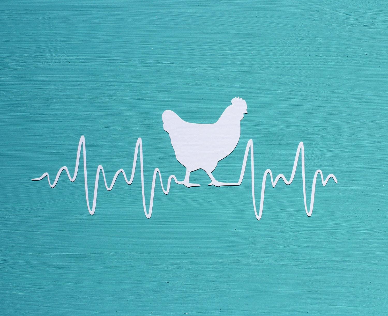 CHICKEN HEARTBEAT Decal Chicken EKG Vinyl Car or Wall
