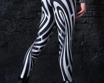 Printed Leggings, Yoga Leggings, Yoga Pants, Plus Size Workout Leggings, Geometric Leggings, Womens Leggings, Runners Leggings Women