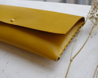 Yellow Leather interlocking clutch bag.  Leather bag, Leather purse.  Handmade in the UK