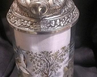 Stunning German hand painted Hunting Bore Hog BMF Crystal Glass Beer Stein Mug