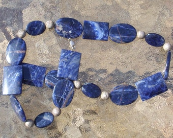 Lapis Lazuli Beaded with sterling silver beads Necklace  3013