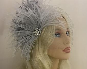 Bridal Hair Piece Fascinator Bridal Hair Clip Wedding Headpiece Bridal Headpiece Hair Accessories Wedding Hair Derby Headpiece Grey Veil