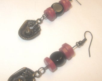 Earrings, Long Dangle Antique Gold Baseball Earrings, Black and Red Baseball Earrings, Baseball Earrings by Cindydidit