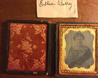1/4 Plate Tintype Leather Pocket Photos Circa Mid-Late 1800s