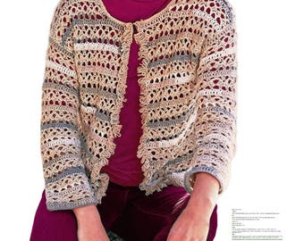Crochet jacket PATTERN for sizes M-2XL, casual crochet jacket, CHART and basic instructions in English, charts are not interpreted in words!
