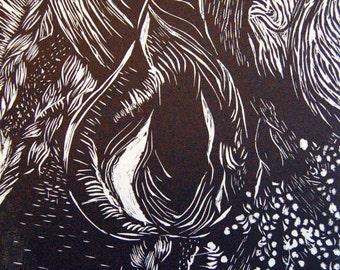 Wood Cut Ink Print
