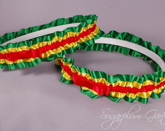 Rasta Wedding Garter Set in Red, Yellow and Green Satin with Tailored Bows