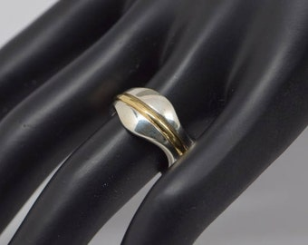 G. Jensen Sterling Silver and Gold Ring, Size 6.5