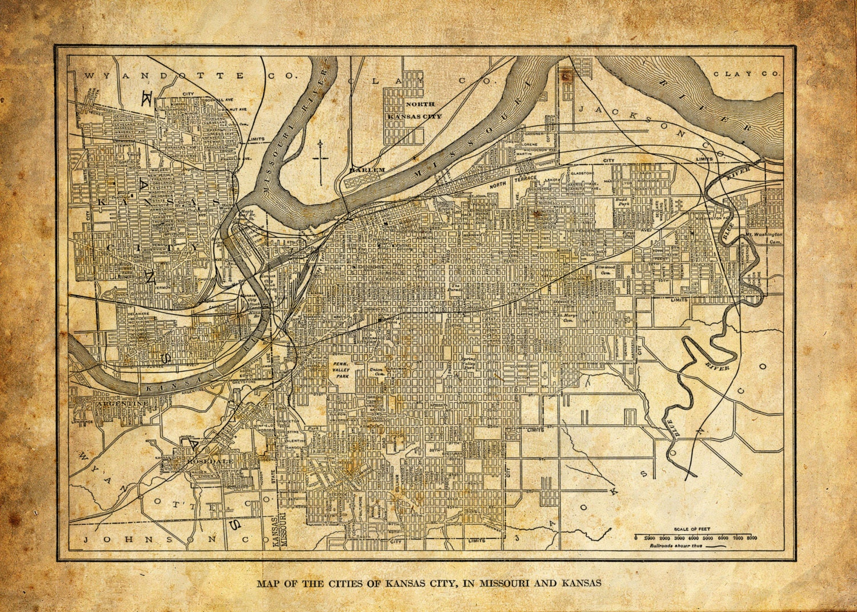 Kansas City Kansas Street Map Vintage Sepia Grunge Print - Kansas city map