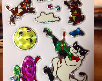 Vintage Prismatic Stickers of Hey Diddle Diddle The Cat and the Fiddle Mother Goose Nursery Rhyme Themed Stickers RARE