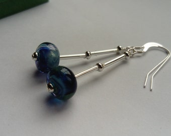 Ocean Blue Glass Drop earrings; Sarah Downton Lampwork Earrings; Sterling Silver 925 Hooks; Pencarro gift box