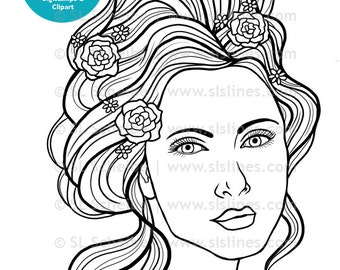 Pretty Girl Digital stamp, art nouveau lady with flowers digistamp, papercrafting stamp