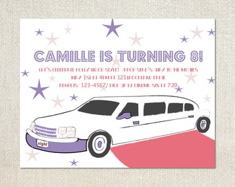 Limo etsy hollywood limo girls movie night birthday party invitations stopboris Image collections