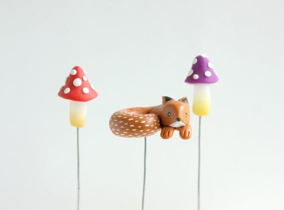 Items similar to miniature fox figurine mini terrarium - Terrarium decoration miniature ...
