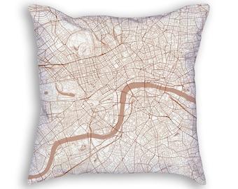 London England Street Map Throw Pillow
