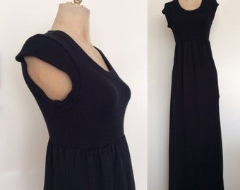 1970's Black Knit Vintage Sweater Maxi Dress Size XS Small Medium by Maeberry Vintage