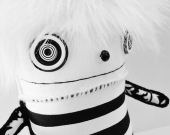 POLKADOTTYDOLL - Panda Plush - Kawaii Plush Panda - Black and White Stripe Art Doll Soft Sculpture - LYNDA BLACK