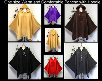 Versatile Travelers Full Size Hooded Poncho in warm and cozy Fleece fabric, Hoddie, Plus size poncho, Fleece Poncho