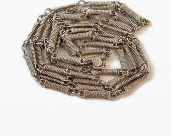 "Accessocraft NYC 60"" Silver Necklace 1960s Vintage"