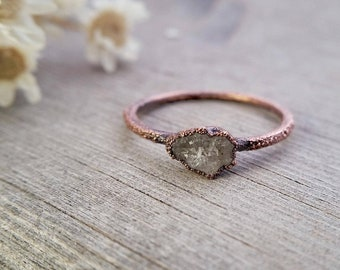 Tiny Geode Engagement Ring | Copper Electroformed Engagement Ring | Size 5 1/2