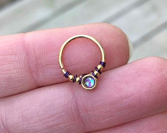 Purple Opal Gold Daith Earring Rook Piercing Hoop
