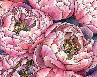 ORIGINAL. Watercolor painting peony