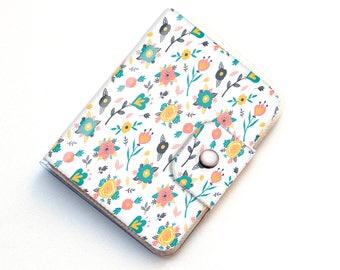 Handmade Vinyl Passport Case - Spring Flowers / traveller, passport, adventure, gift, vinyl, woman's, wallet, floral wallet, vegan wallet