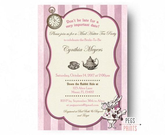 Printable mad hatter bridal shower invitation bridal shower filmwisefo
