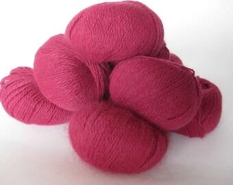 Italian Angora yarn, Angora wool, Cranberry colour