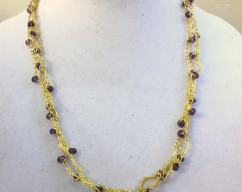 "Gold crocheted necklace with purple beads Boho glam jewelry Long lightweight multistrand necklace 28"" Opera length Metallic sparkling OOAK"