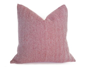 Red Herringbone Pillow, Farmhouse Pillows, Red Throw Pillow, Rustic Pillows, Gift for Her, Pillow Cover, French Country, Plaid, 18x18