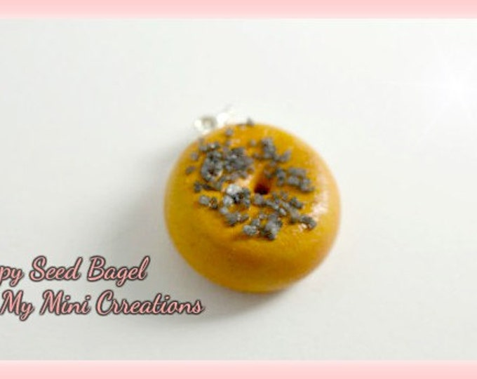 Poppy Seed Bagel Charm, Polymer clay, Miniature food, miniature food jewelry