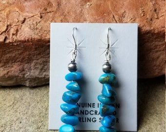 Royal blue turquoise earrings with sterling silver Navajo pearls Handmade by Veronica Yellowhorse Navajo