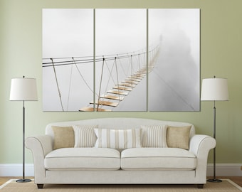 3 Pieces Bridge Vanishing in Fog Leather Print/Extra Large Wall Art/Large Wall Decor/Foggy Bridge Print/Made in Italy/Better than Canvas!