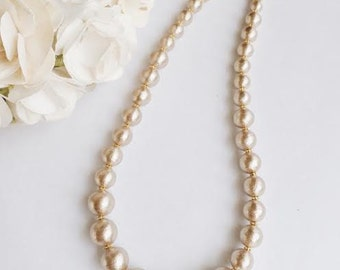 Gold cotton pearl necklace / Bridal / Wedding jewelry