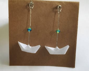 Earring Origami Boats and crystals